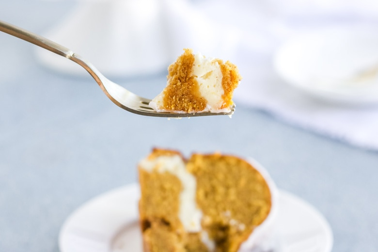 fork with a bite of pumpkin pound cake