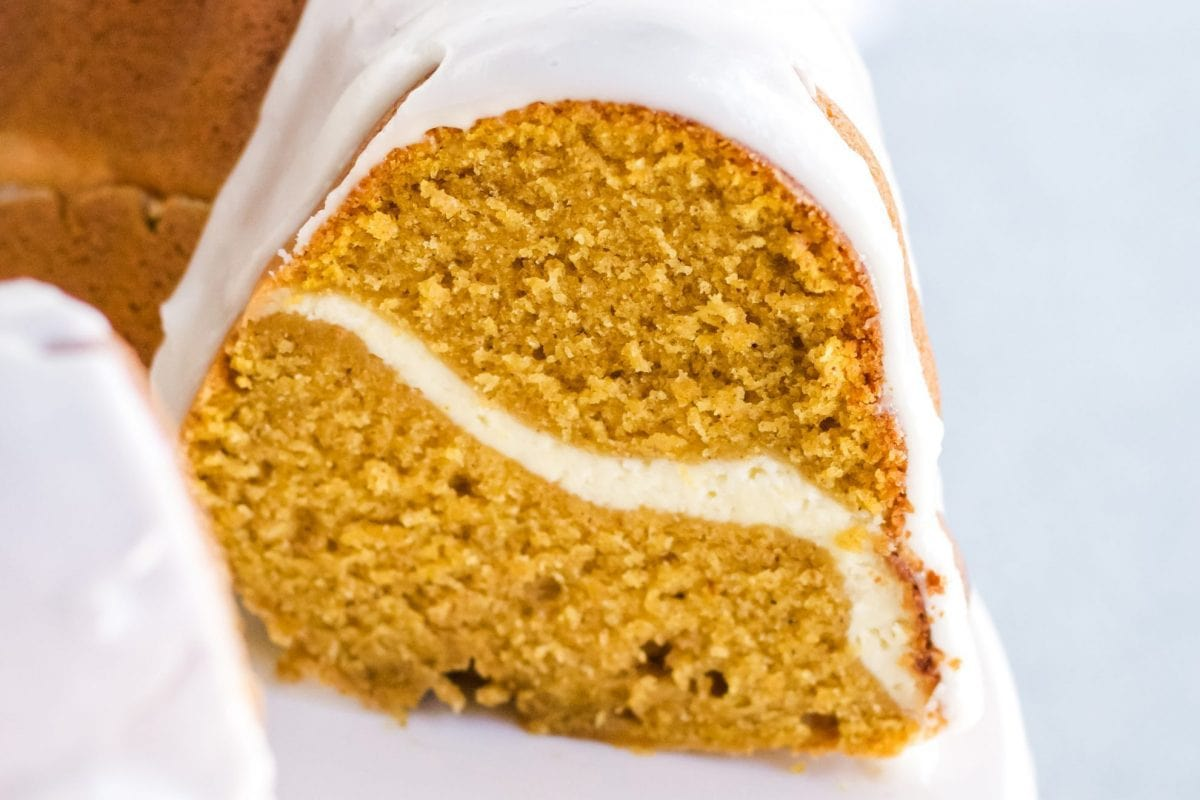 close up cross section of pumpkin pound cake