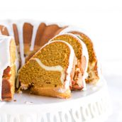 sliced pumpkin cream cheese pound cake