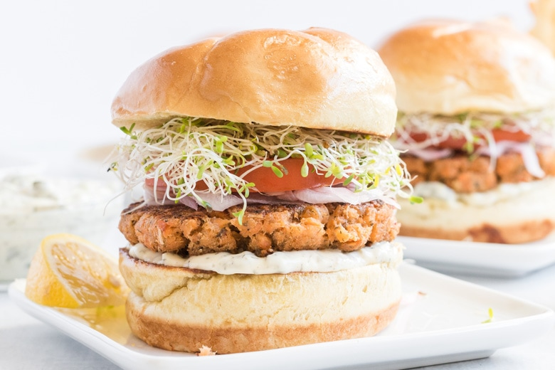 easy salmon burgers angle view