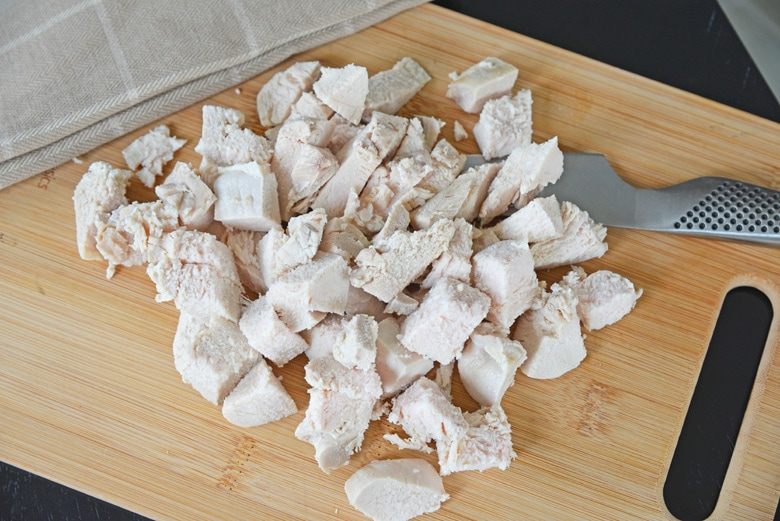 chopped turkey on a cutting board