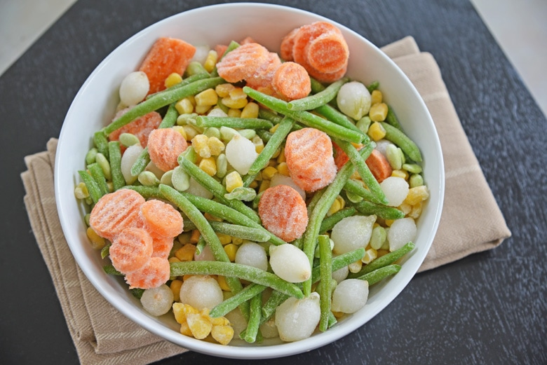 frozen vegetables in a white bowl