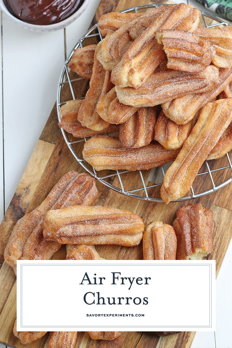 The perfect churro recipe, crunchy and tossed in cinnamon sugar, but made in the Air Fryer so no mess from frying! #airfryerdesserts #airfryerchurros #churrorecipes www.savoryexperiments.com