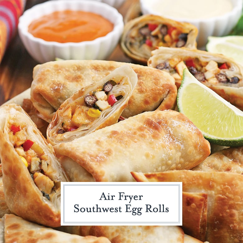 close up of southwest egg rolls with lime wedges