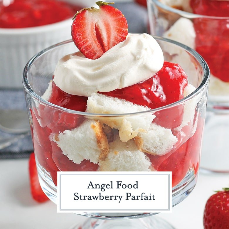 angel food layered with fresh strawberries and strawberry sauce