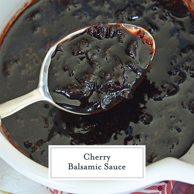 spoon with cherry balsamic sauce