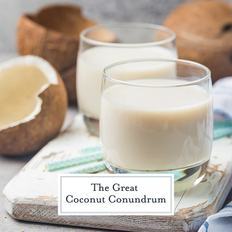 glasses of coconut milk with whole coconuts