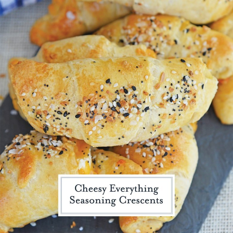 close up of everything crescent rolls