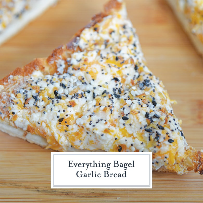 close up of everything garlic bread
