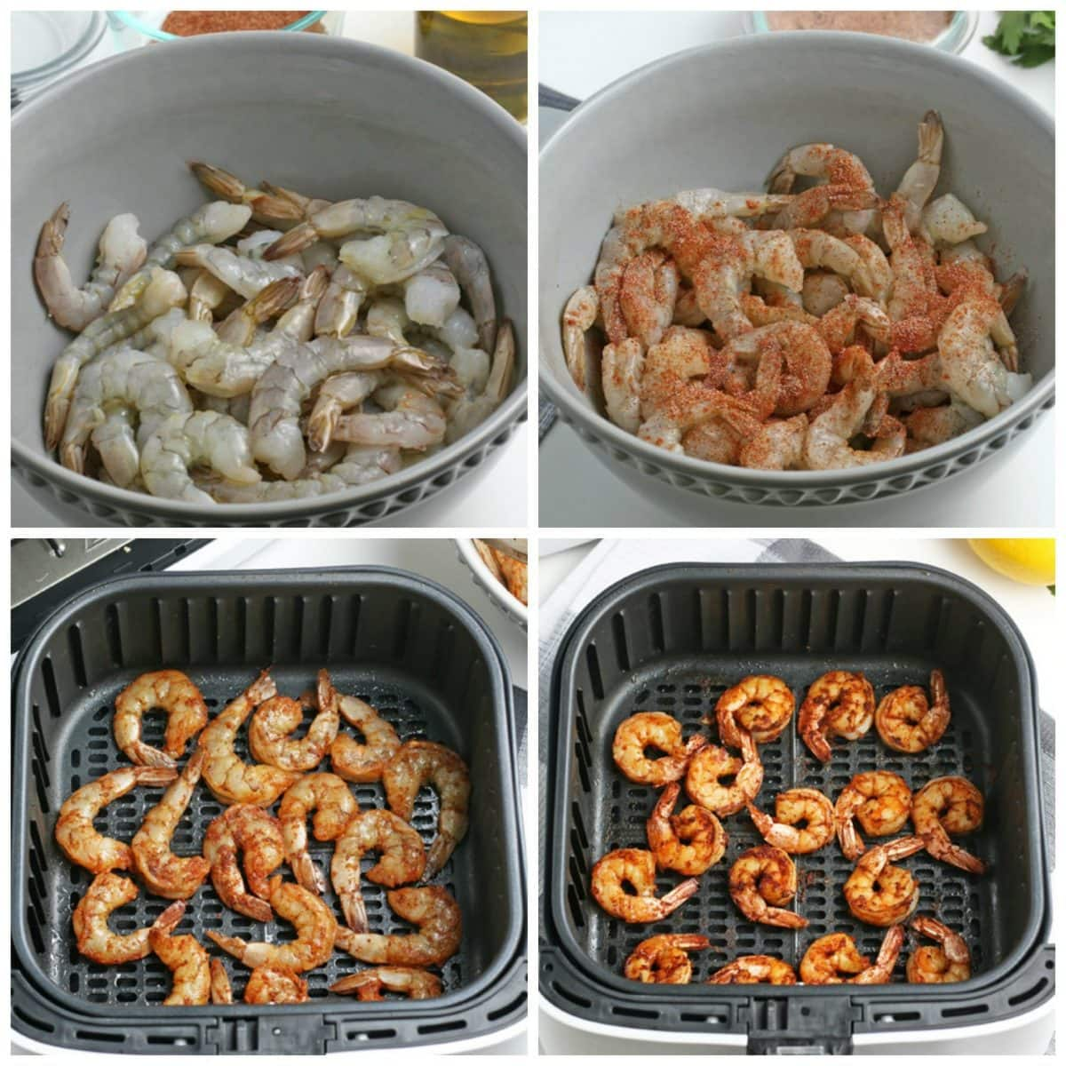 step-by-step photos of how to make shrimp in the air fryer