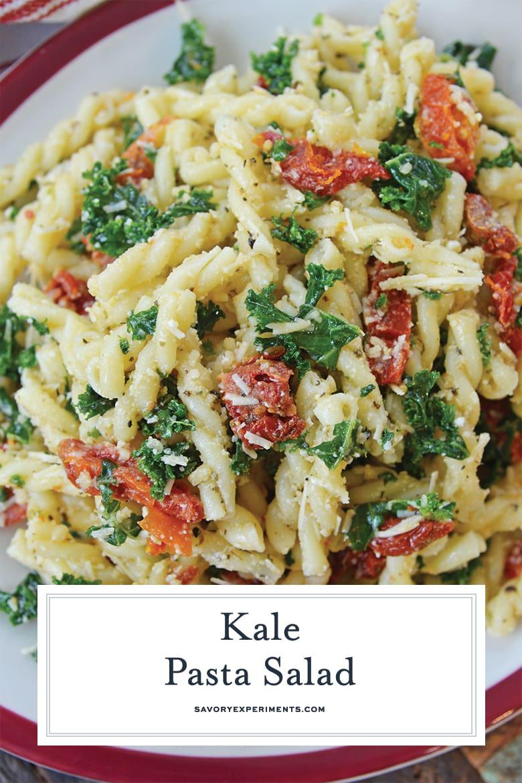 close up of kale pasta salad for pinterest