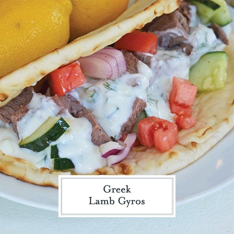 A recipe for Greek Lamb Gyros, served in a warm pita with fresh chopped veggies and garlicky tzatziki sauce. #gyros #legoflamb #lambgyros www.savoryexperiments.com