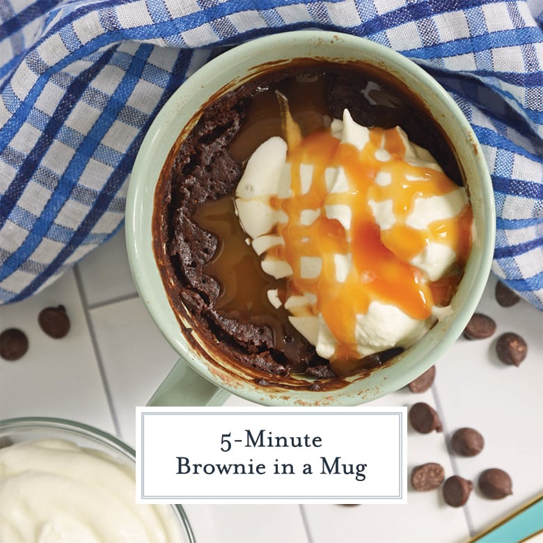 overhead of mug brownie with whipped cream and caramel sauce