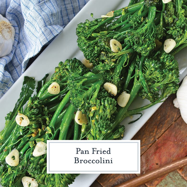 broccolini with garlic on a serving platter