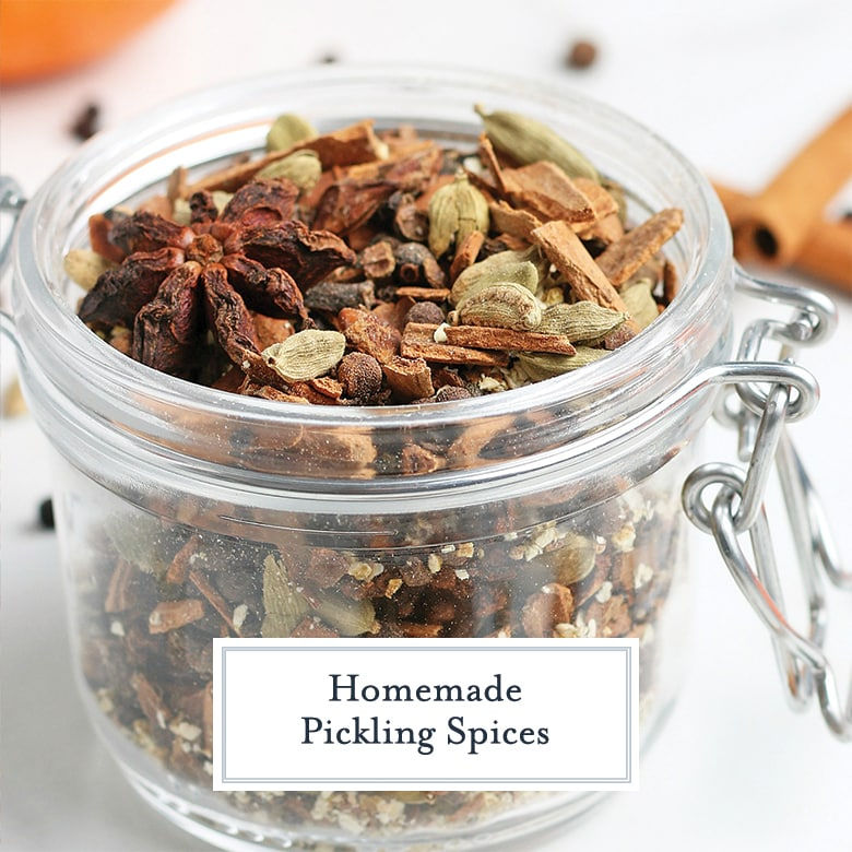 small glass jar of pickling spice