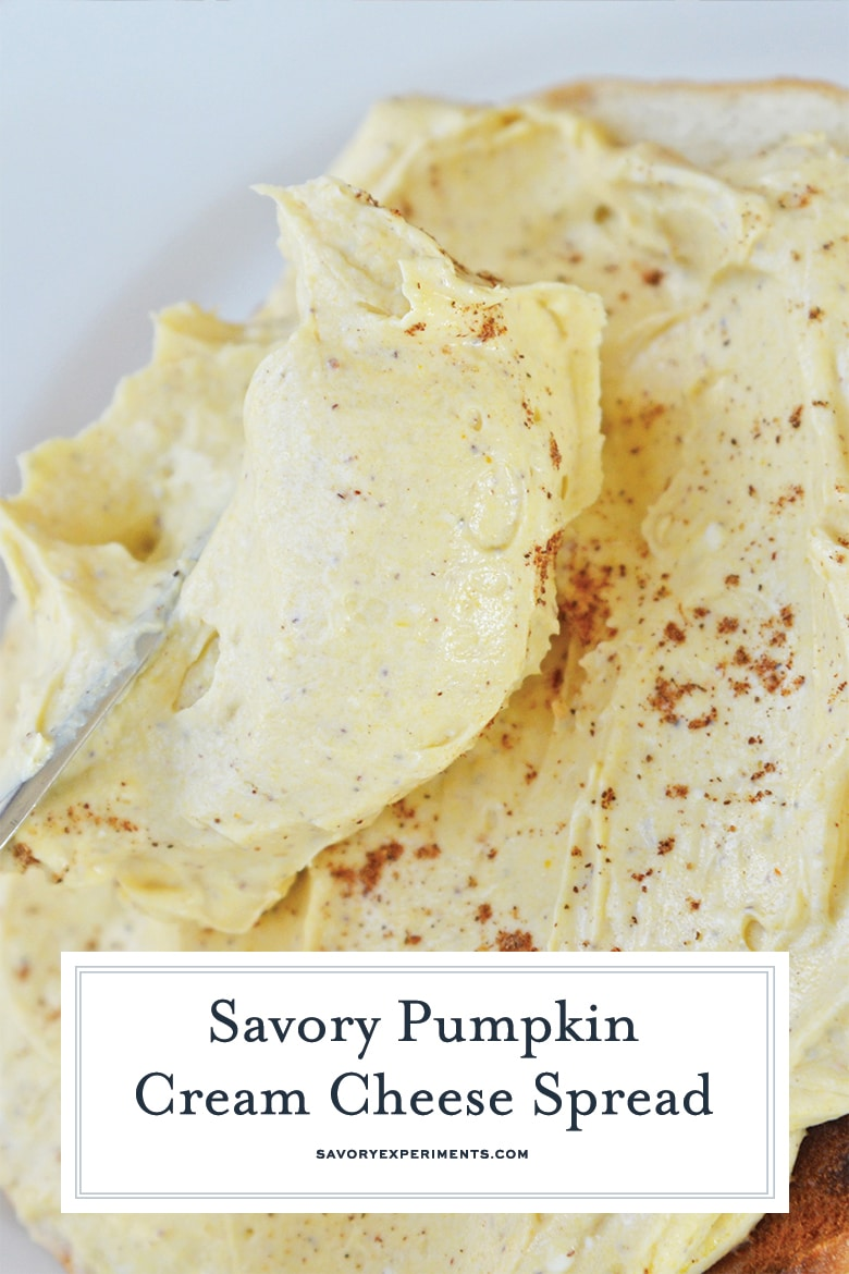 close up of pumpkin cream cheese for pinterest