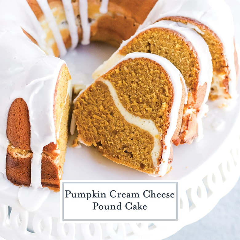 Sliced pumpkin pound cake with cream cheese ripple