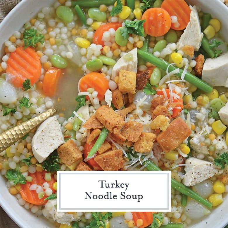 close up of leftover turkey noodle soup