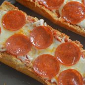 close up of pepperoni french bread pizza