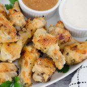 plate of garlic parmesan wings