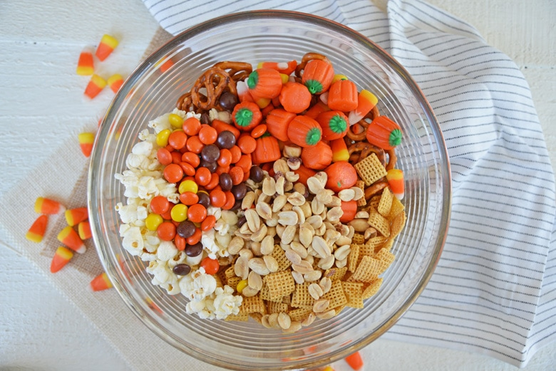 all ingredients for snack mix