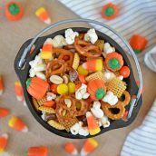 cauldron of halloween snack mix
