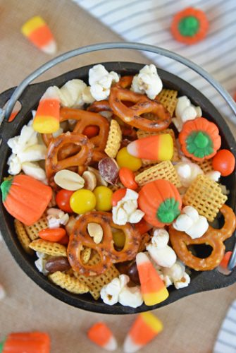 cauldron of halloween snack mix