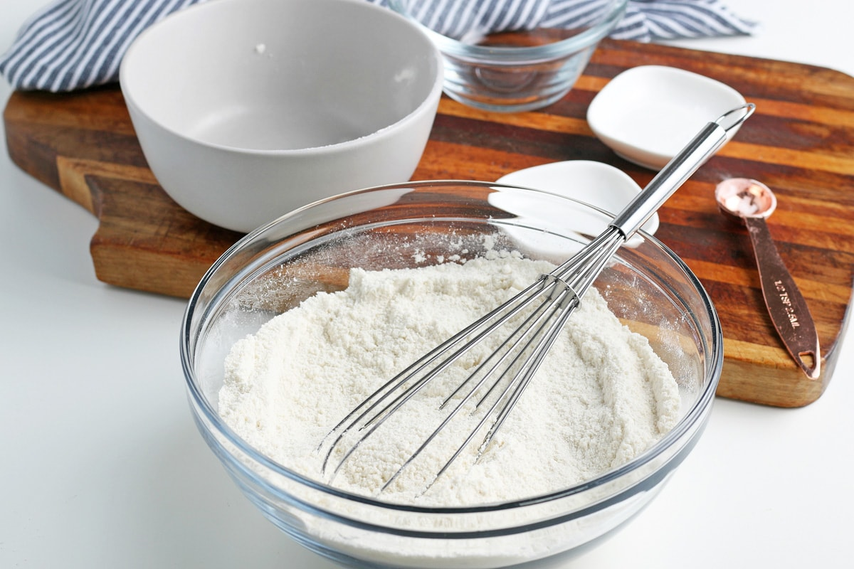 dry cake ingredients in a mixing bowl
