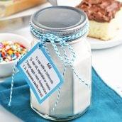 glass jar of dry homemade cake mix