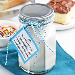 glass jar of dry homemade cake mix