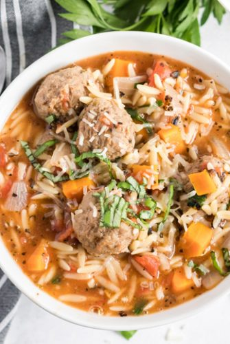 best italian meatball soup in a white bowl