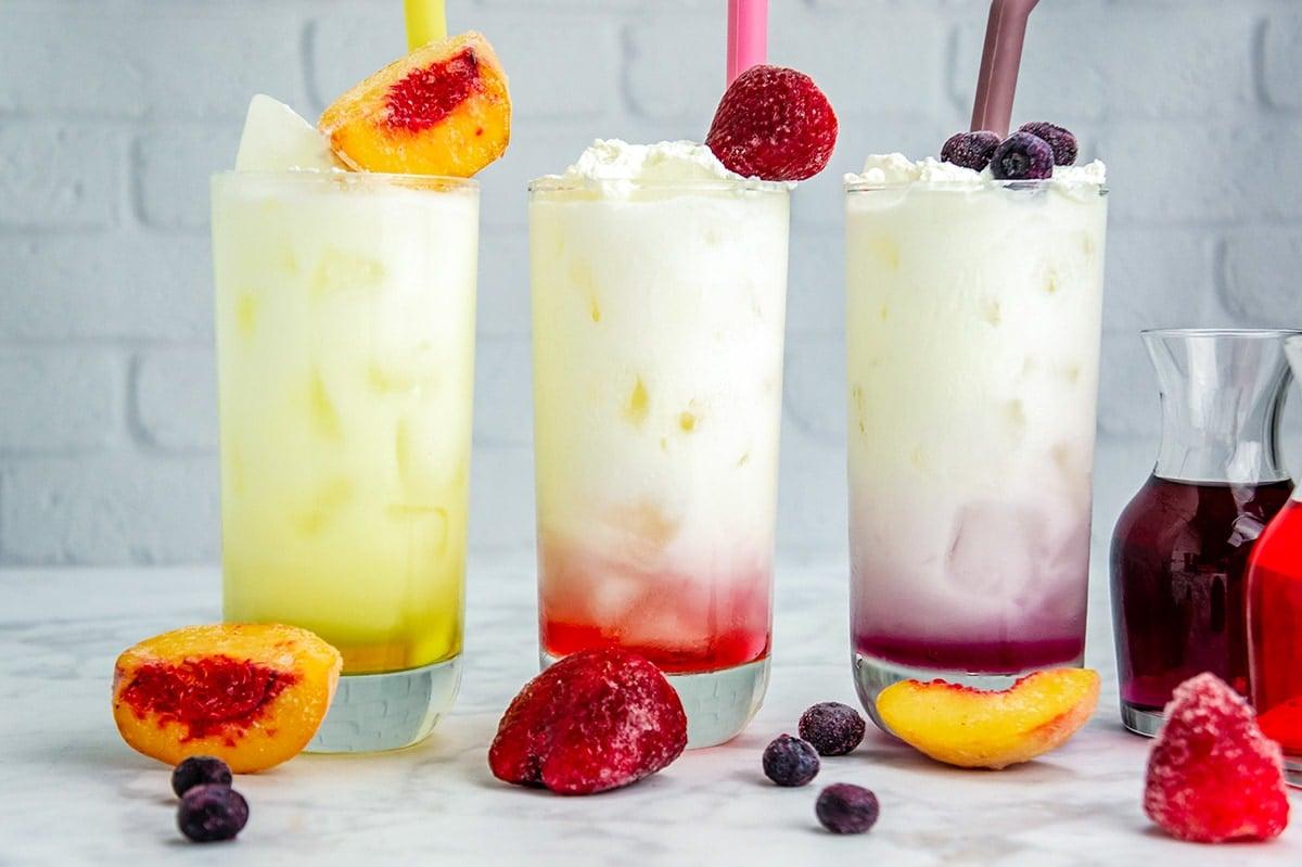 side view of fruity Italian sodas