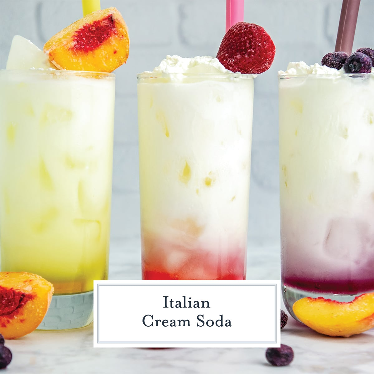 flavored Italian cream soda with peaches, strawberry and blueberry