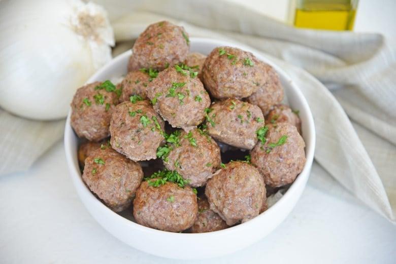 white bowl of lamb meatballs