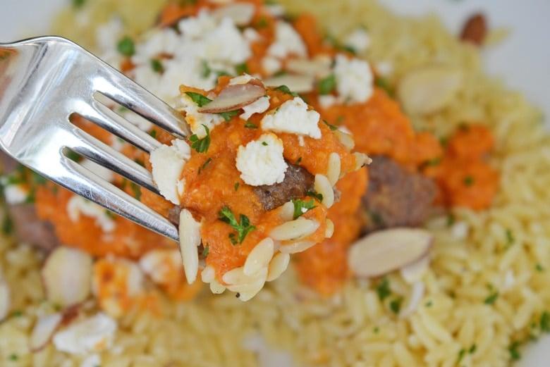 lamb meatball on a fork