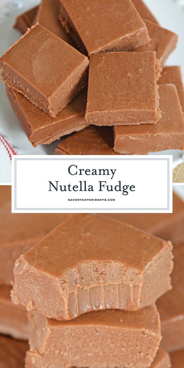 close up of nutella fudge for pinterest