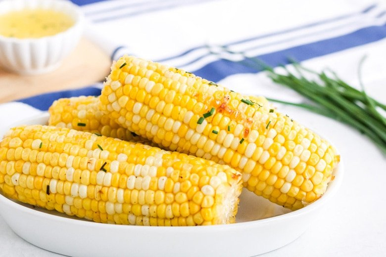 roast corn on the cob in a serving dish