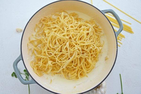 hot pasta in cream sauce