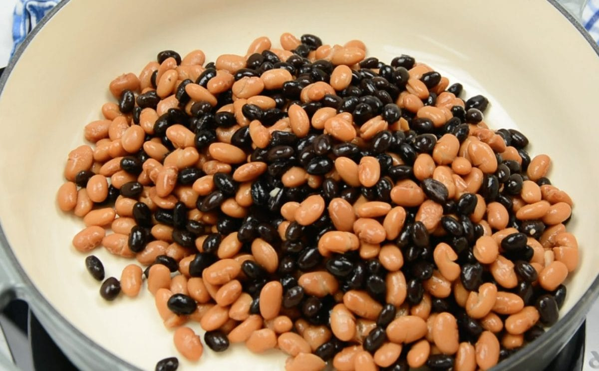 pinto and black beans in a skillet