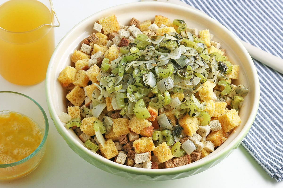 stuffing cube with onion, celery and herbs