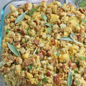 angle view of southern cornbread dressing in a baking dish