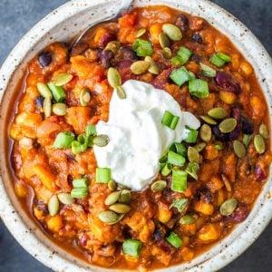 best vegetarian sweet potato chili in a bowl