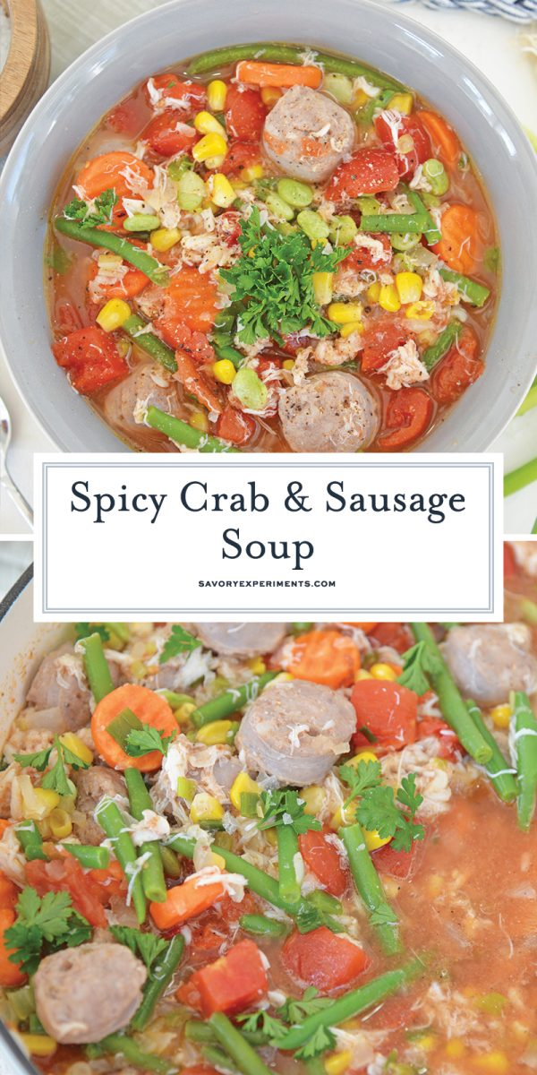 spicy crab and sausage soup for pinterest