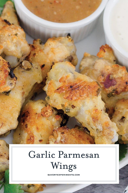 close up of parmesan garlic chicken wings