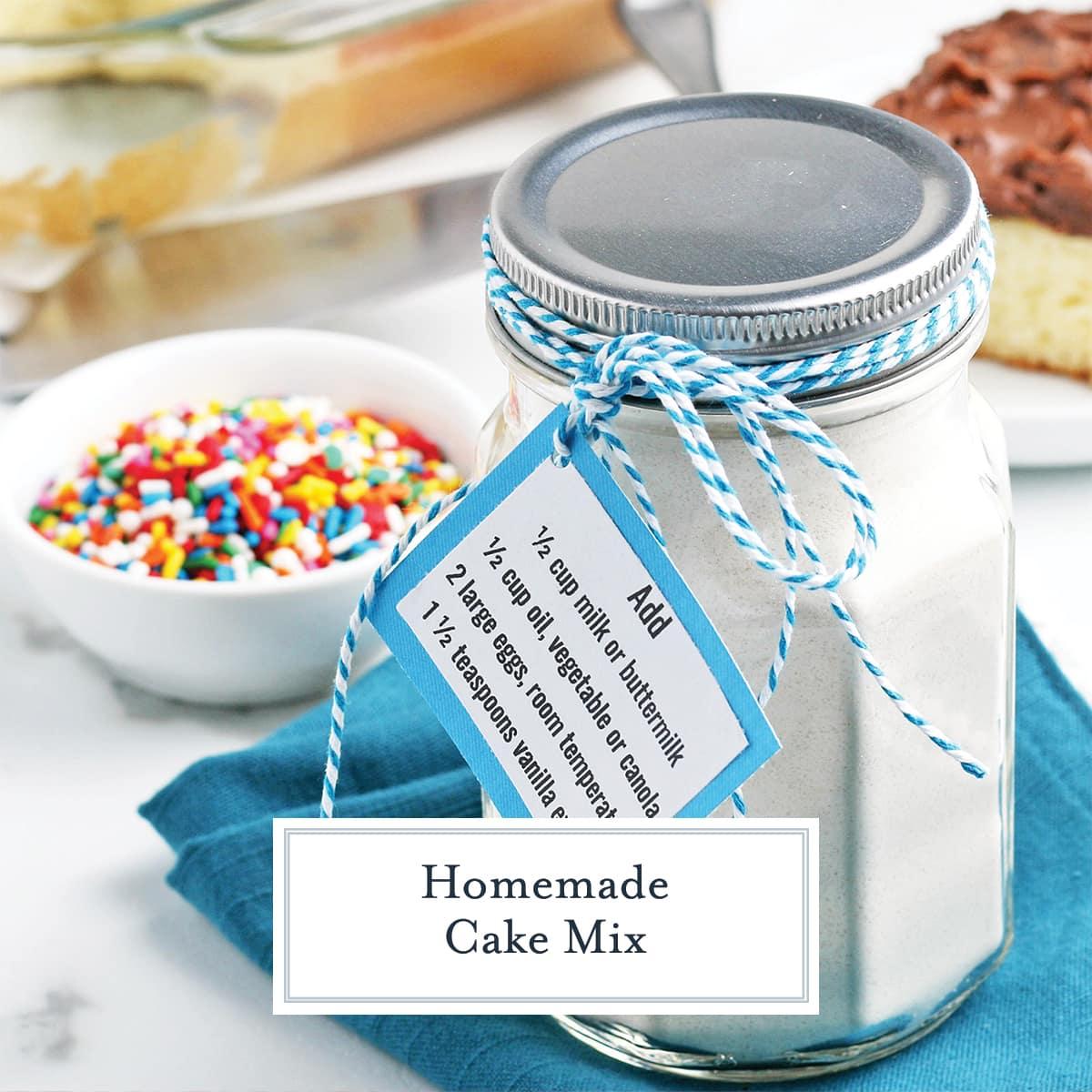 mason jar of cake mix with a label