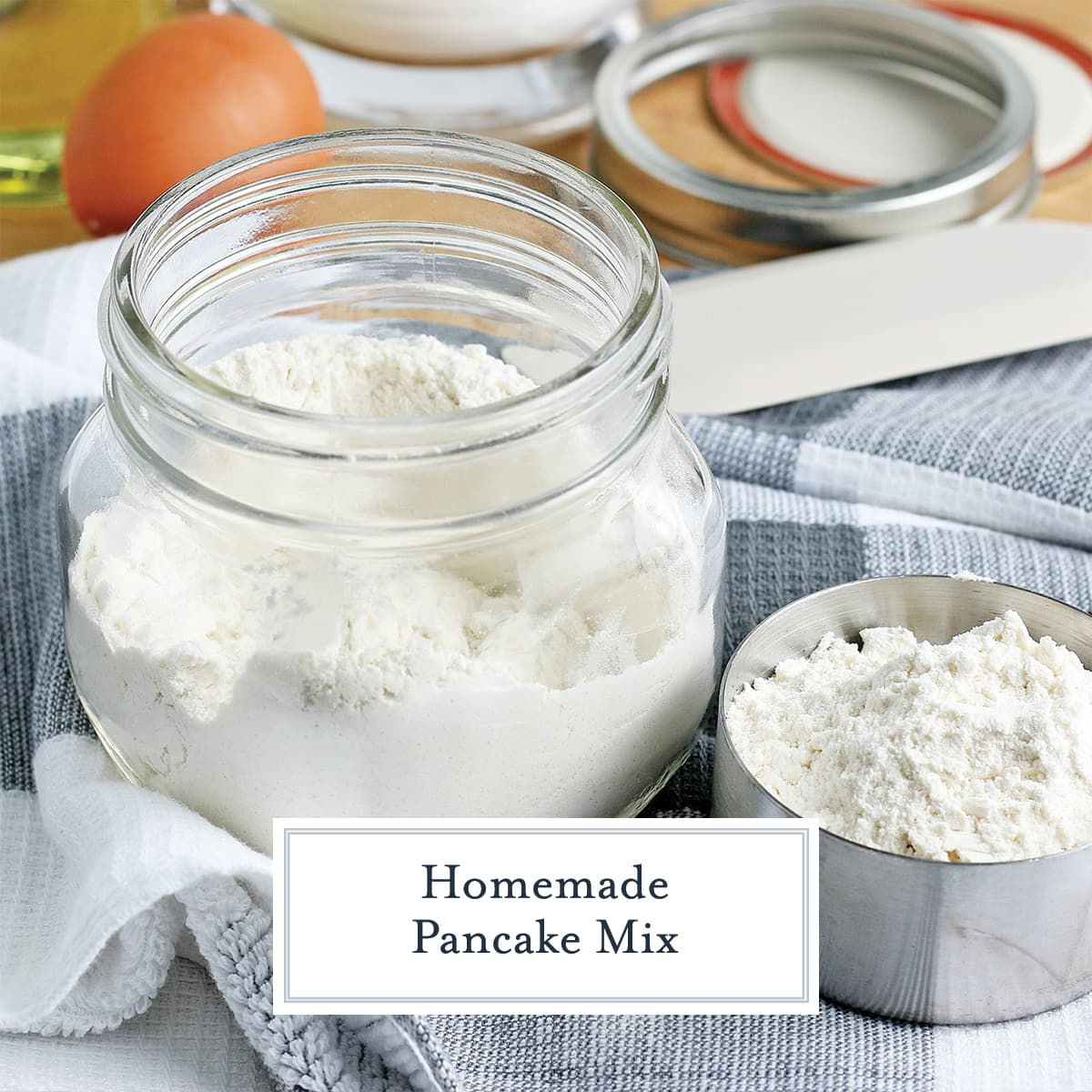 dry pancake mix in a small glass jar
