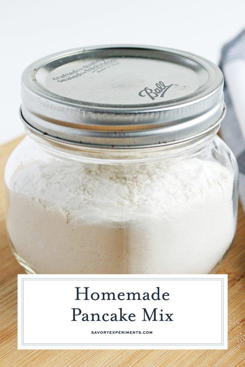 glass jar of dry pancake mix