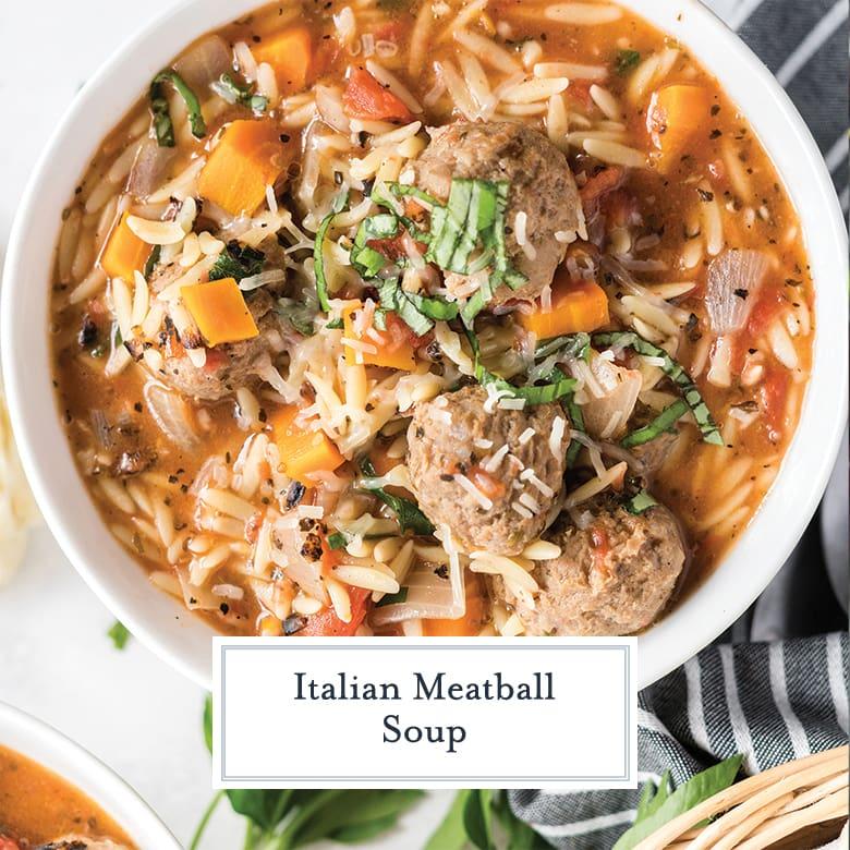 overhead close up of meatball soup recipe