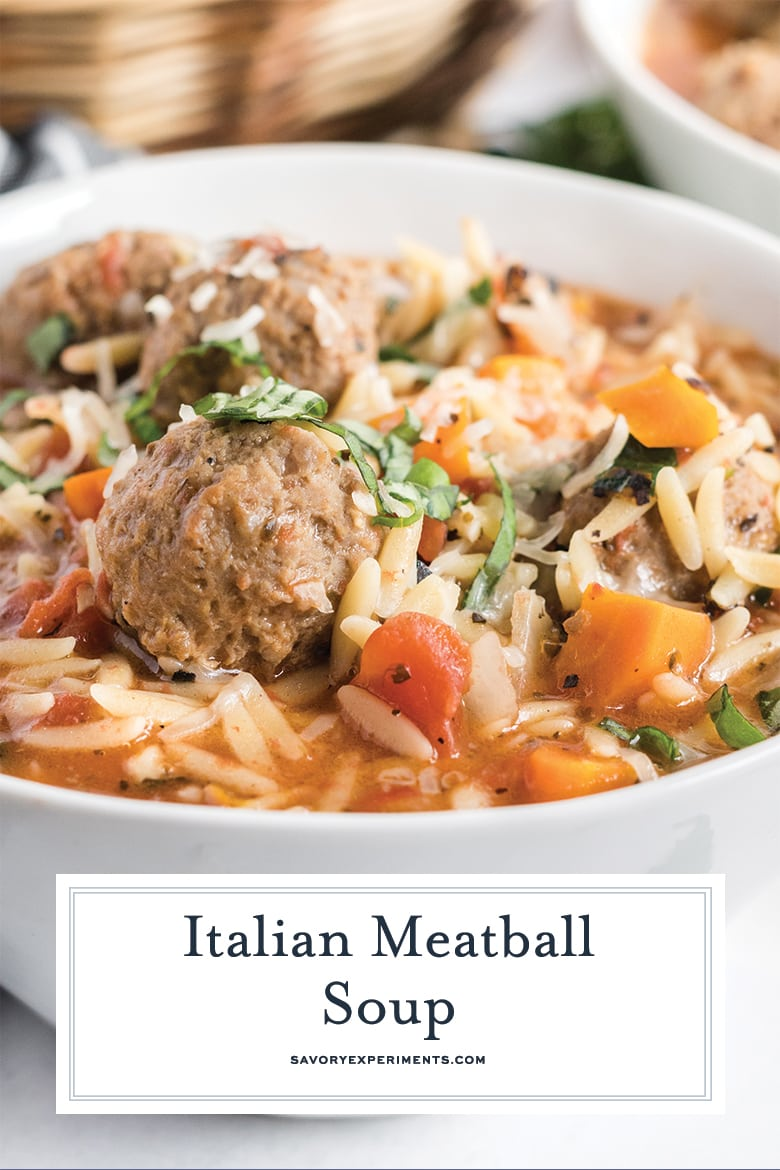 close up of meatball in soup