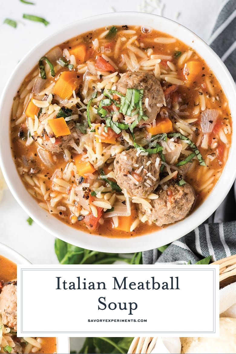 close up of meatball soup recipe